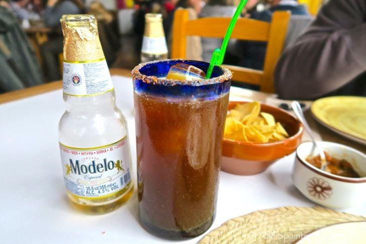 マドリードのメキシカンのビールカクテル・ミチェラダ