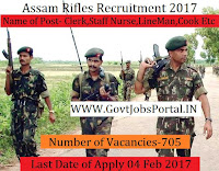 Assam Rifles Recruitment 2017 For 705 Clerk & Other Posts
