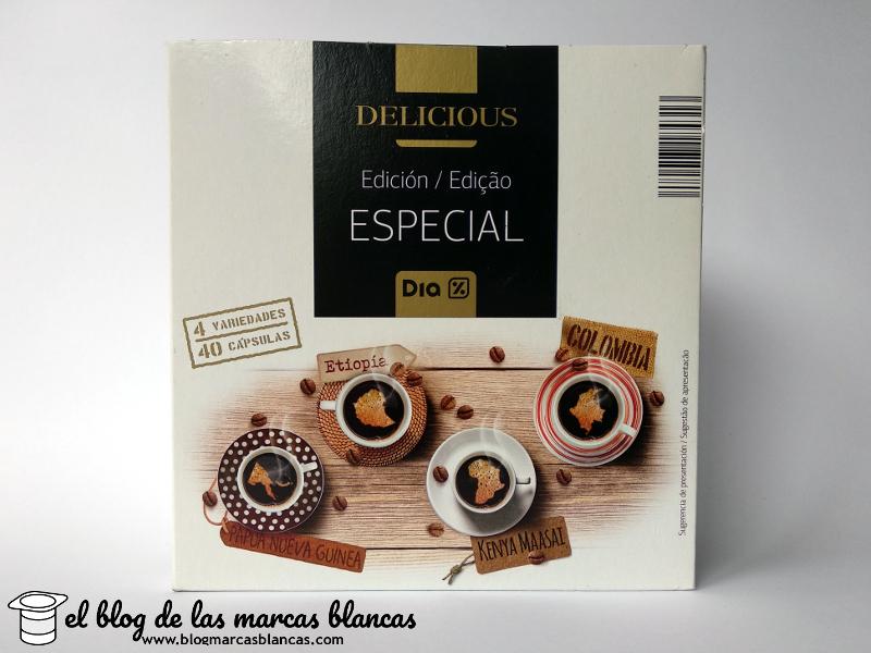 Café en cápsulas compatibles con máquinas Nespresso de la marca Delicious de Dia fabricadas por Toscaf en Asturias con café proveniente de Etiopía, Papua Nueva Guinea, Colombia y Kenia.