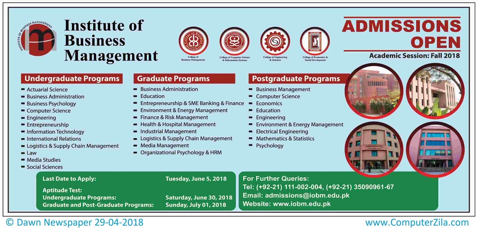 Institute of Business Management Admissions Fall 2018