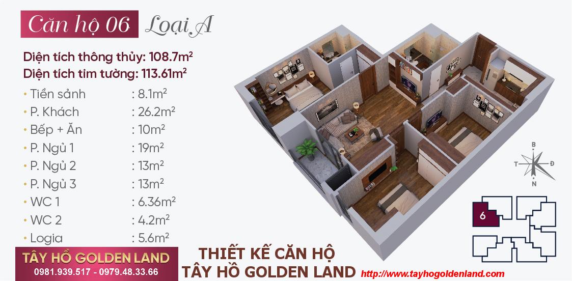 Hình ảnh Thiết kế căn hộ Tây Hồ Golden Land Căn 06 - Loại A