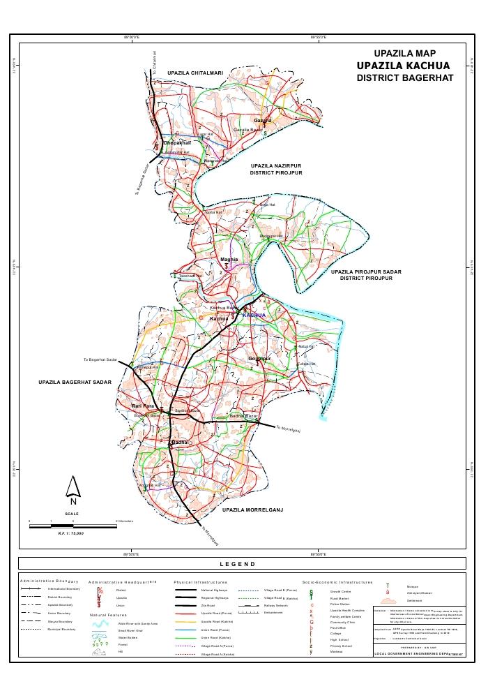 Kachua Upazila Map Bagerhat District Bangladesh