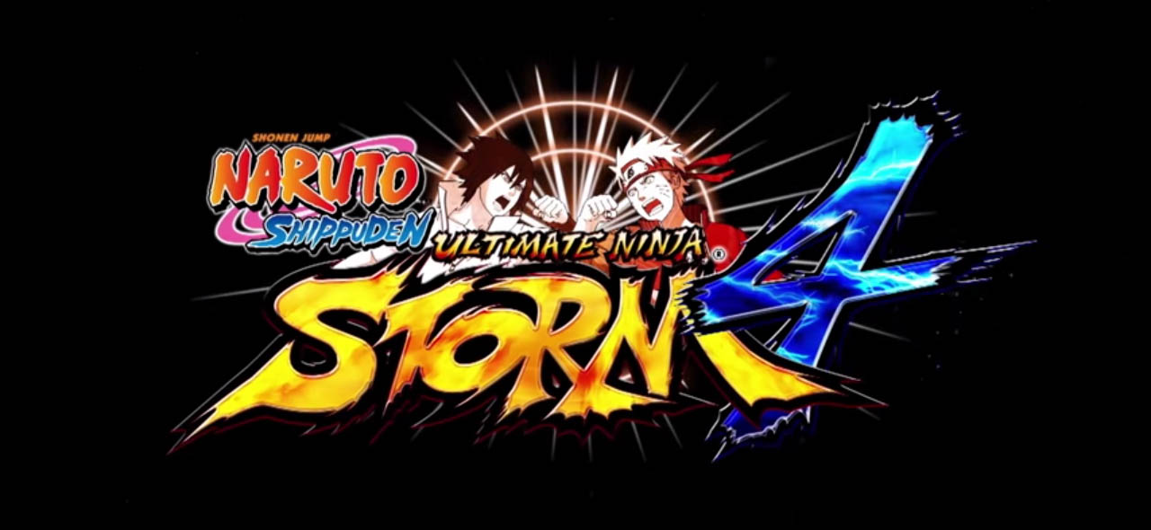 Naruto Shippuden Ultimate Ninja Storm 4 videoa game title card for Xbox One, PS4, and Steam from CyberConnect2 and Namco Bandai Games