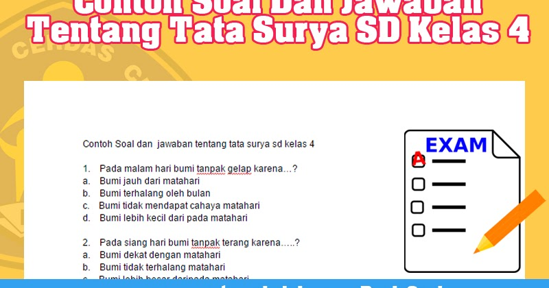Contoh Soal Dan Jawaban Tentang Tata Surya Sd Kelas 4 Operator Sekolah