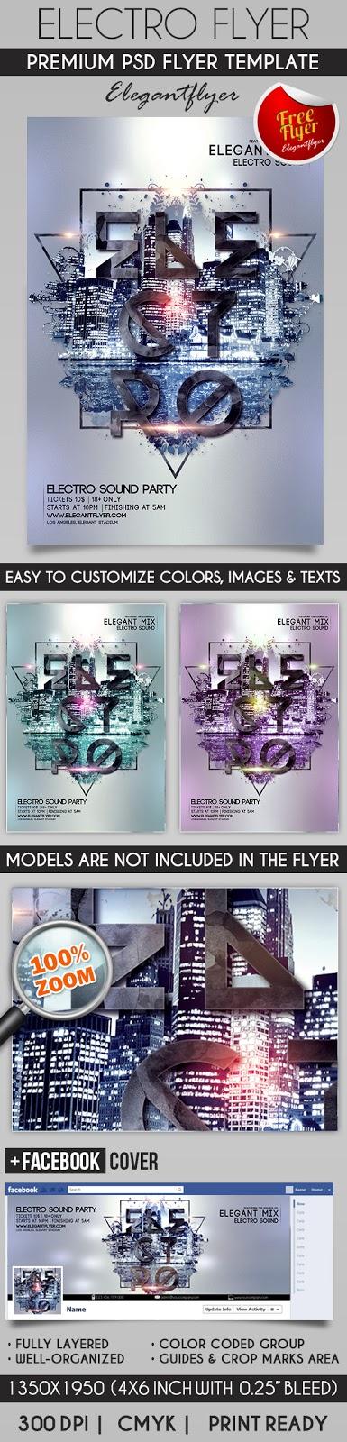 Electro Flyer 2016 \u2013 Flyer PSD Template + Facebook Cover  Download - electro flyer