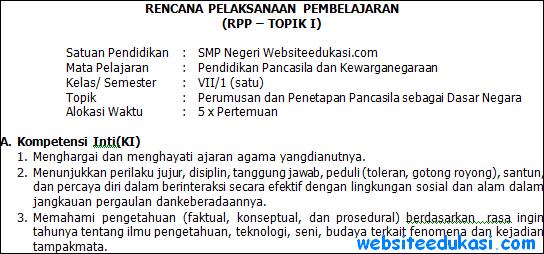 RPP PKn Kelas 7 Semester 1 Kurikulum 2013 Revisi Terbaru