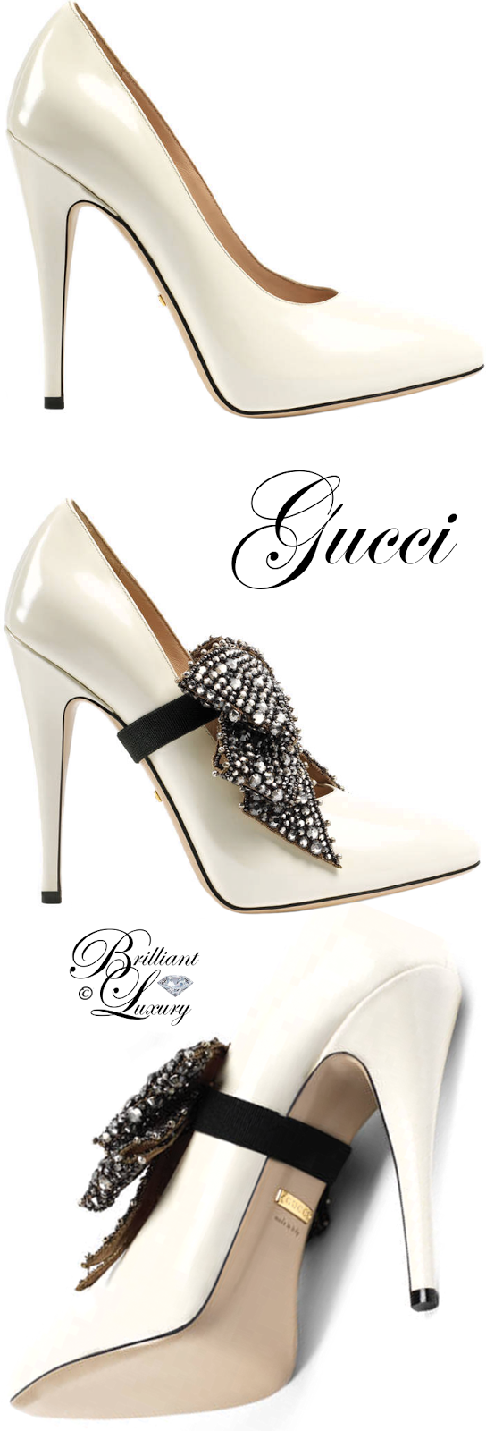 Brilliant Luxury ♦ Gucci Leather Pump With Crystal Bow