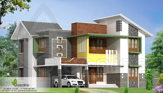 Diverse modern Indian Home design from Greenline Architects calicut