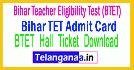 Bihar TET Admit Card 2019 BTET Hall Ticket Download