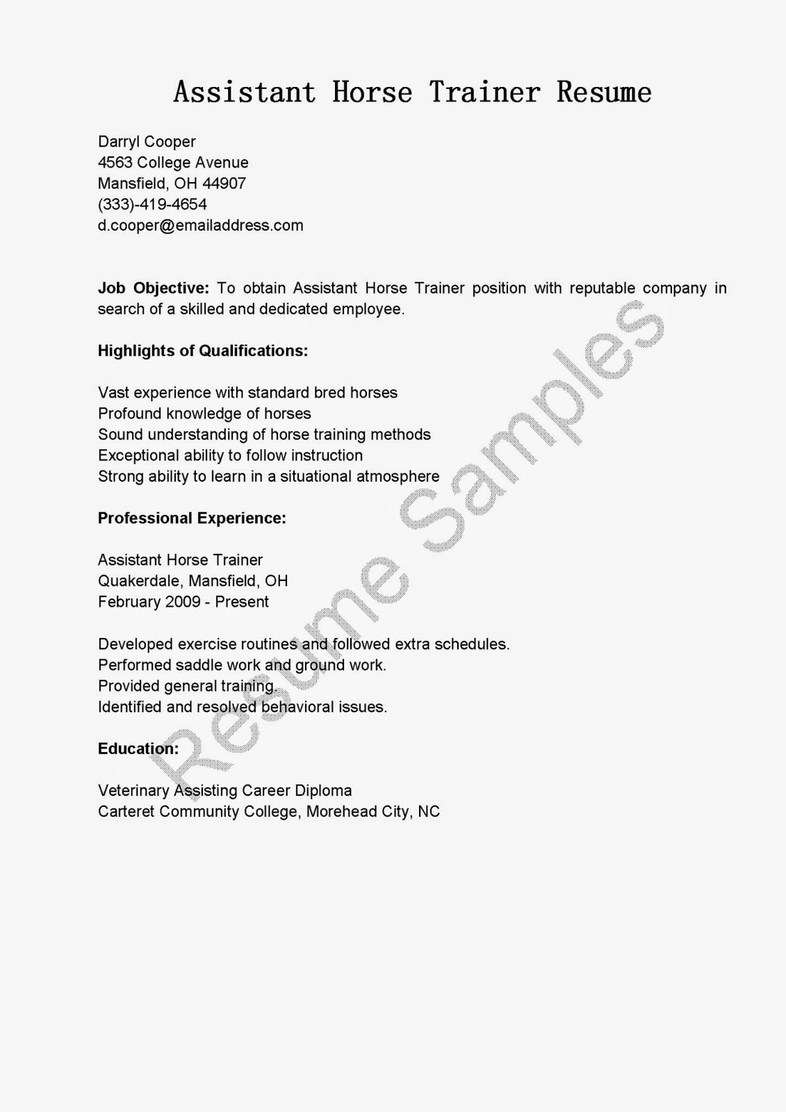 Resume Samples Assistant Horse Trainer Sample