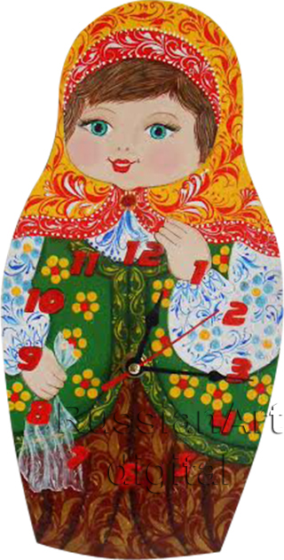 Clip Art Wall Clock Matryoshka in Russian style Khokhloma  PNG +  JPG Commercial Use