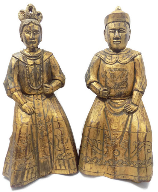Chinese Statues of a Qing Dynasty Mandarin and Wife