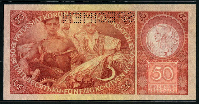 Czechoslovakian currency 50 Czech korun banknotes notes pictures