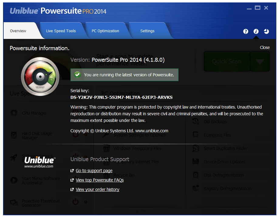 uniblue powersuite serial