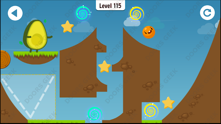 Where's My Avocado? Level 115 Solution, Cheats, Walkthrough, 3 Stars for Android, iPhone, iPad and iPod