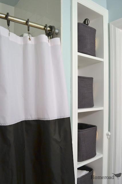 nautical striped shower curtain