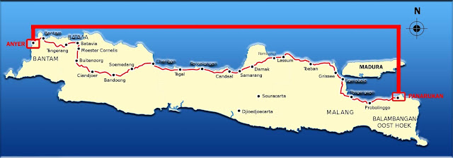 Daendels ordered the construction of a 1000 km long road linking Anyer in Banten and Panarukan in East Java