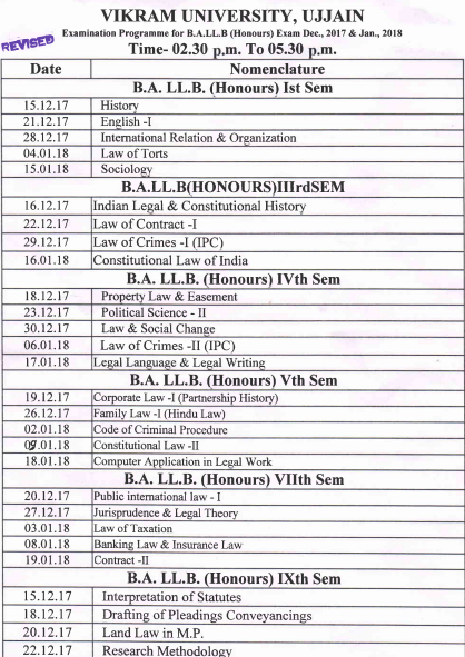 Vikram University Ujjain Time Table