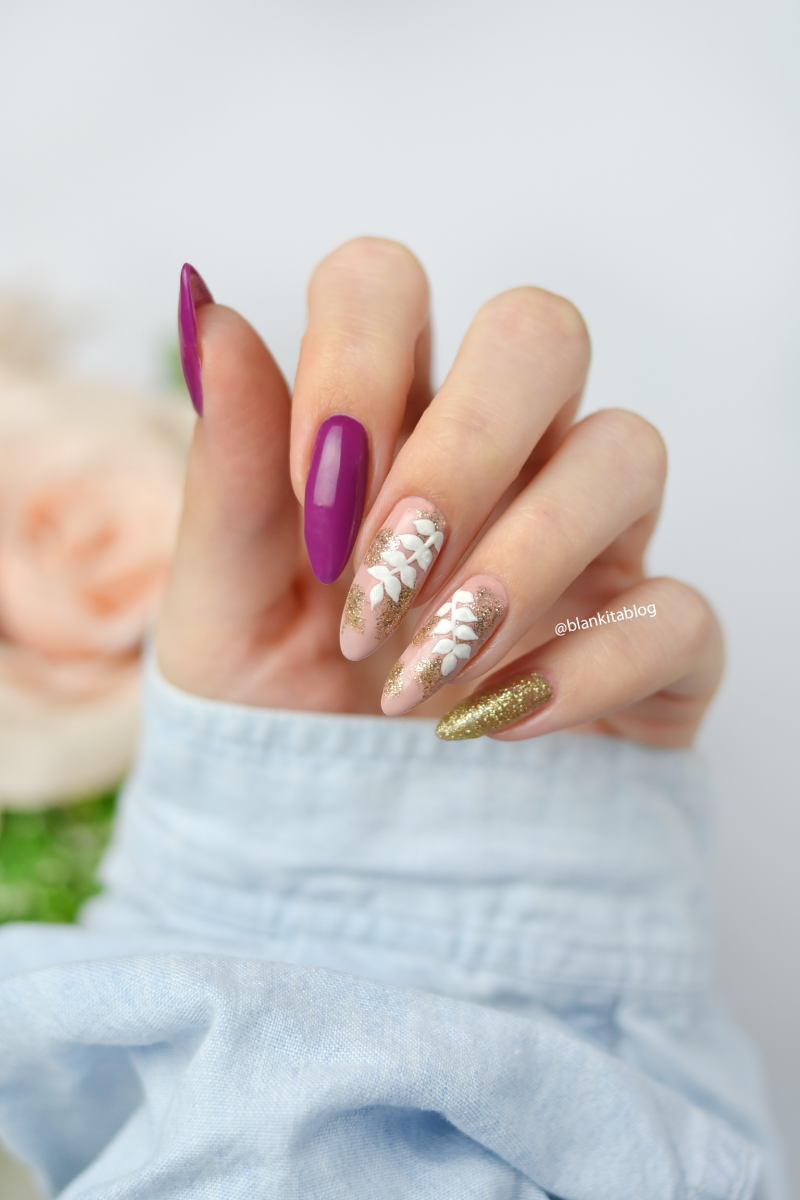 malowane biale listki, listki na paznokciach, gałązki liści, semilac, pink cherry,