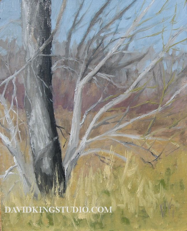 art painting plein air tree winter branches bare