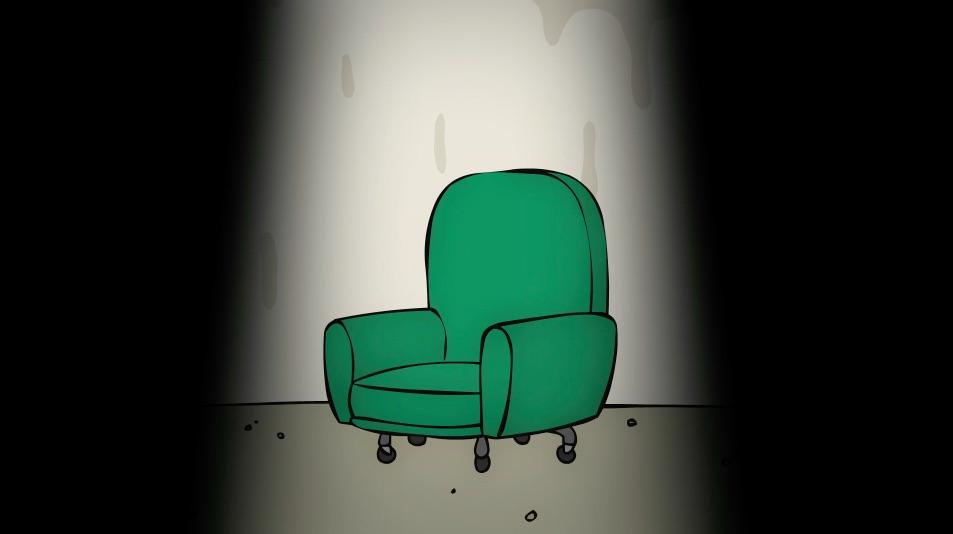 La sedia di Polchinski senza il protagonista, uscito momentaneamente dalla scena.