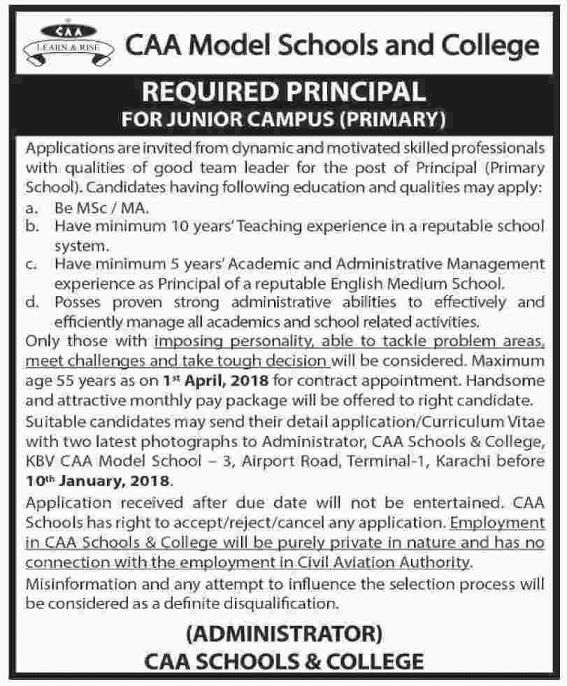 CAA Model School And College  jobs