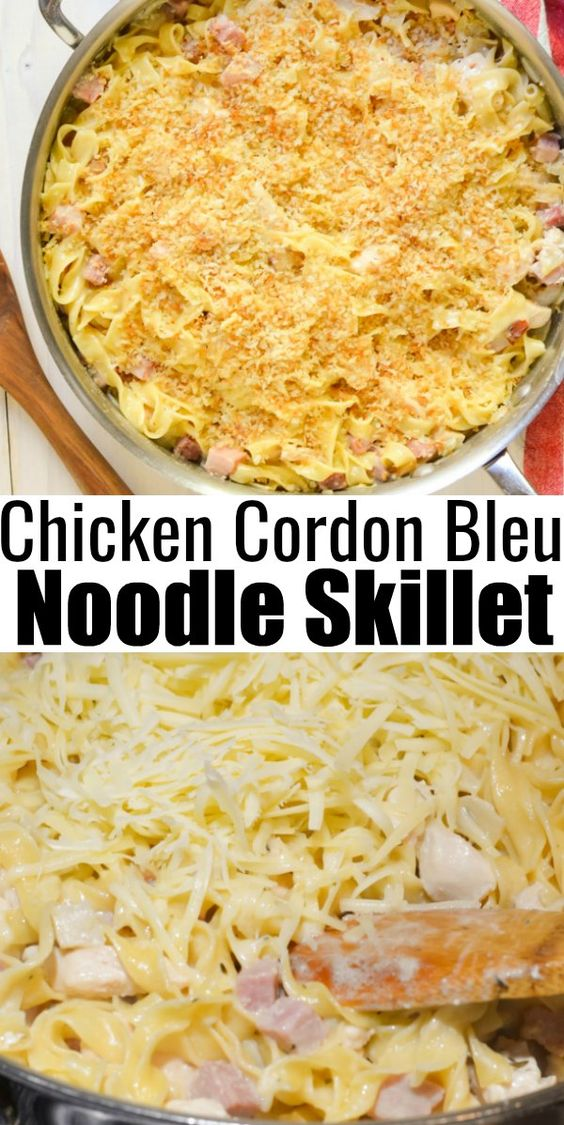 Chicken Cordon Bleu Noodle Skillet with Panko Bread Crumbs with ham, chicken, egg noodles and gruyere cheese.