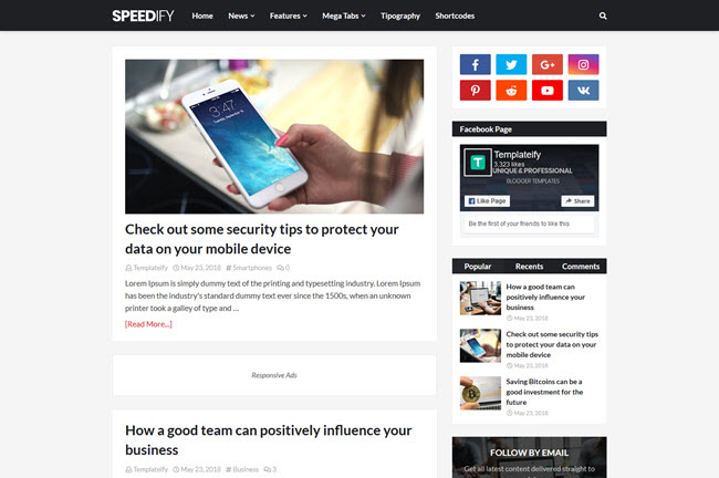 Speedify Blogger Template Premium Free Download
