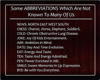 Some Abbreviations not known to us - ygoel.com