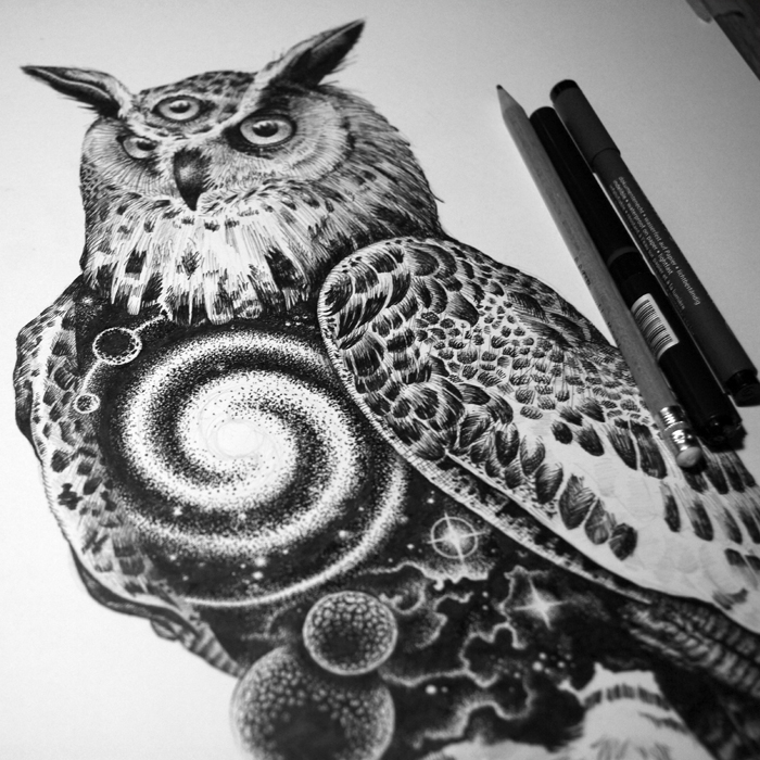 03-Space-Owl-Tony-Graystone-Neon-Mystic-Black-and-White-Drawings-www-designstack-co