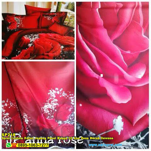 Sprei Custom Katun Jepang Panel Bunga 3D Ana Rose Merah Dewasa