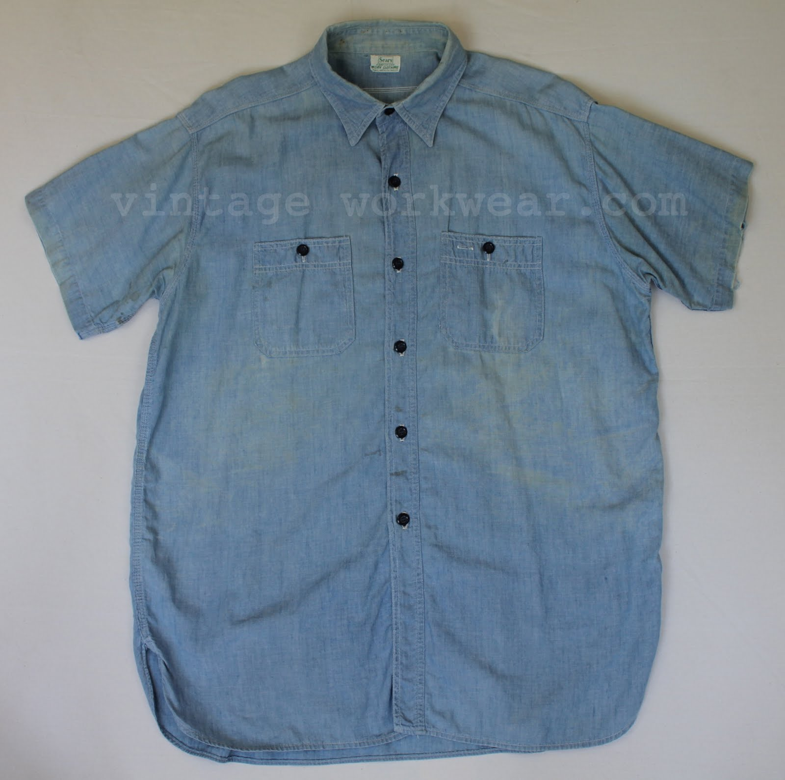dac33b2b0a 1950 s era Sears WORK CLOTHING Hercules style sanforized s s chambray work  shirt