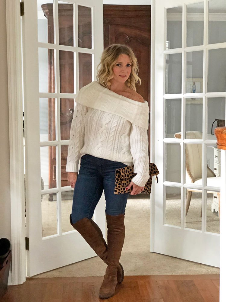 off the shoulder sweater with skinny jeans and over the knee boots