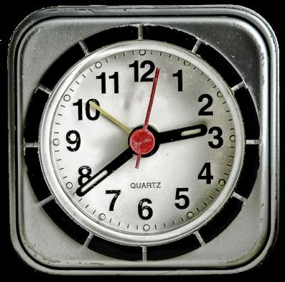 A small modern plastic wind up alarm clock.