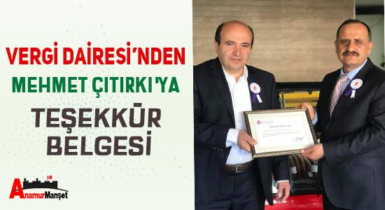 Vergi Dairesi'nden Mehmet Citirki'ya Tesekkur Belgesi