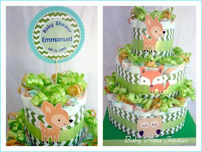 tarta de pañales animales bosque