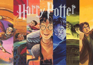 Harry potter books collage