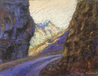 Soft pastel painting of a landscape from Himachal by Manju Panchal