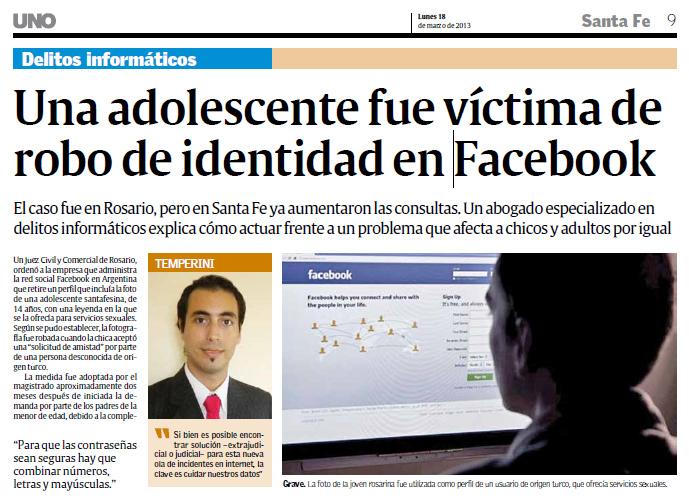 Santa Fe Facebook: Entrevista En Diario UNO De Santa Fe: Robo De Identidad En