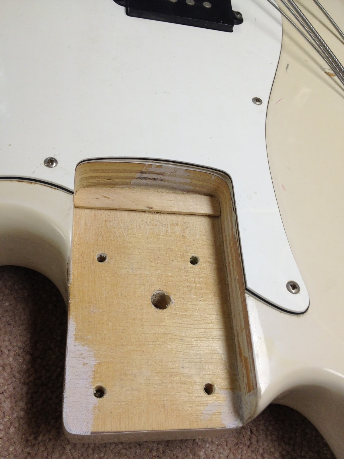 a wiring diagram for this p-bass style axe was just a few keystrokes  away  it took almost as long to warm up my soldering iron as it did to make  the
