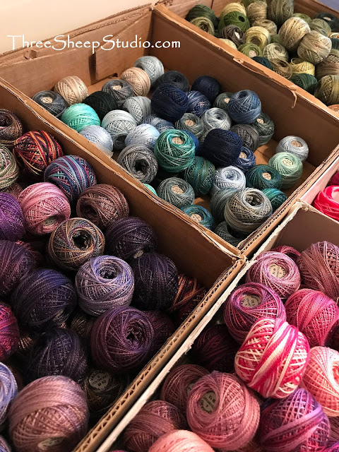 Stash of Perle Cotton Thread for Punch Needle Embroidery