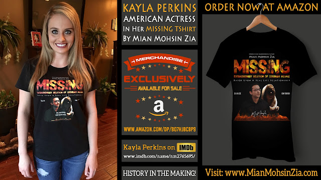 Kayla Perkins, American Actress in her Branded MISSING TShirt by Mian Mohsin Zia