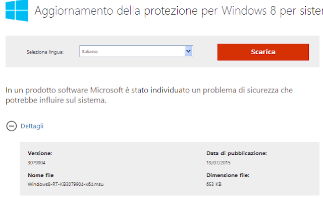 Aggiornamento KB3079904 Windows