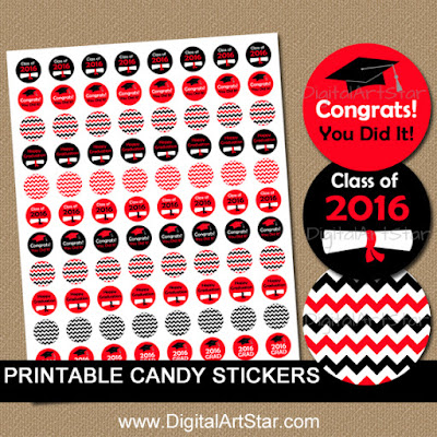 red and black chevron graduation candy stickers - printable pdf file - digital download
