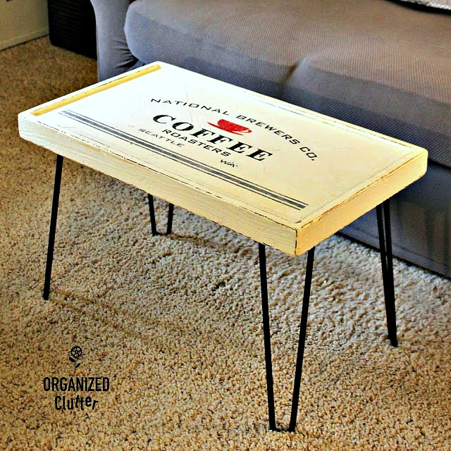 Coffee Themed Coffee Table #hairpinlegs #oldsignstencils #coffeedecor