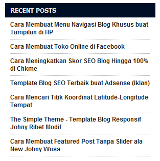 Widget Recent Posts di Sidebar Blog