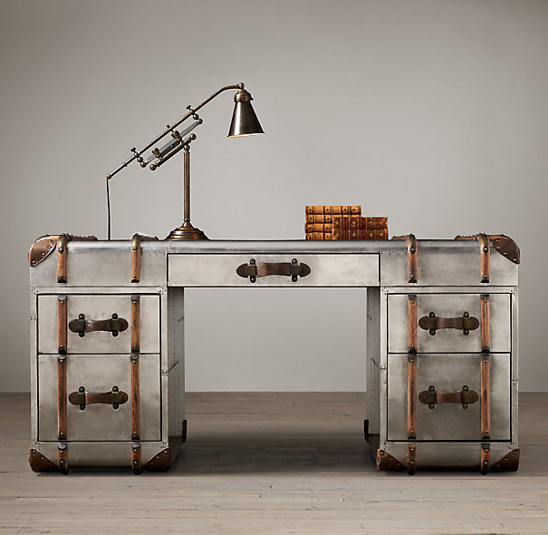 Restoration Hardware Airplane Desk: The Well-Appointed Catwalk: Home Office Week: The Desks