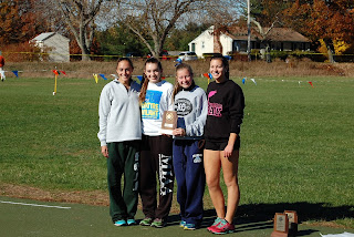 FHS girls Cross Country team at the Hockomock League Championships, Oct 2015
