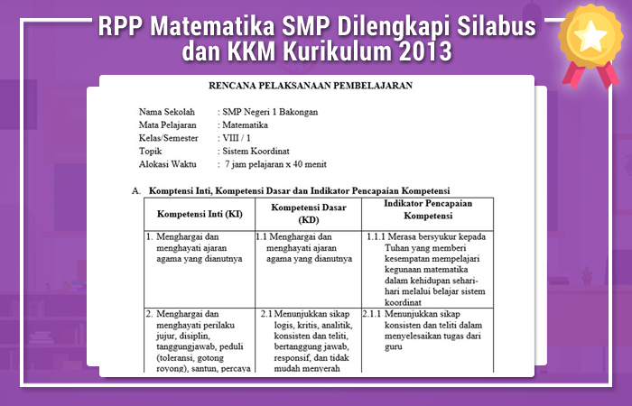 RPP Matematika SMP Dilengkapi Silabus dan KKM Kurikulum 2013