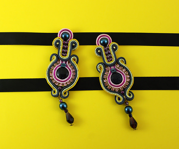 Handmade, soutache, earrings, Colorful, jewelry, Handcrafted, jewelry, Stylish, luxury, blue sand,